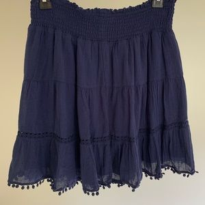 Navy Old Navy Tassel Tiered Mini Skirt Elastic